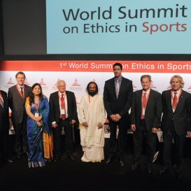 Sri Sri addresses 1st World Summit On Ethics In Sports at FIFA Headquarters