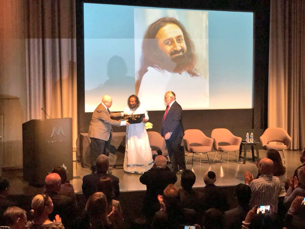 Gurudev Sri Sri Ravi Shankar receives the Simon Wiesenthal Center's International Leadership Award at Museum of Tolerance