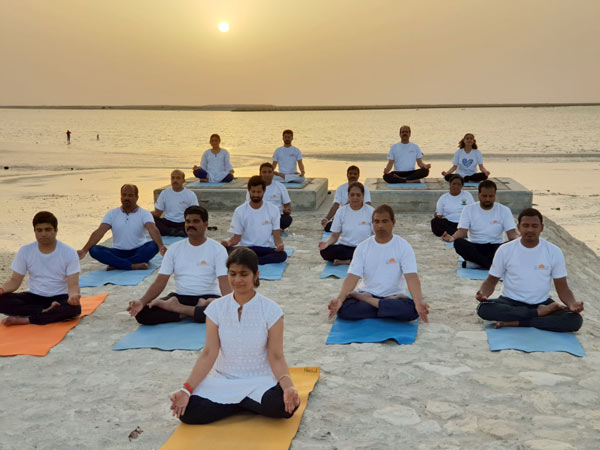 Yoga Enthusiasts join the 4th IDY celebrations at Bahrain as part of the Sun Never Sets on Yoga campaign. Millions from 150 countries joined The Art of Living's 4th IDY celebrations