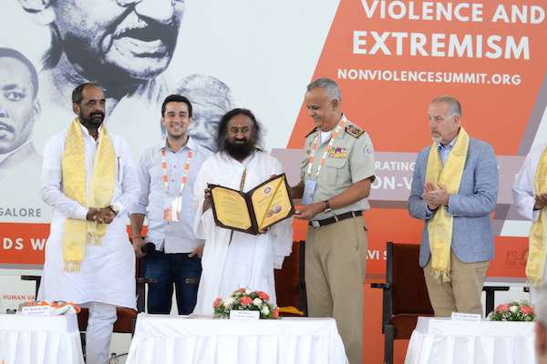 NV Summit The Brazilian Government today conferred Gurudev with the title of 'Friend of Military Police of Brazil', as more than 1000 military officials have benefited by Art of Living's meditation workshops