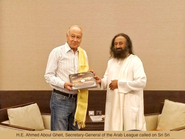 Ahmed Aboul Gheit with Sri Sri Ravi Shankar in UAE 2018