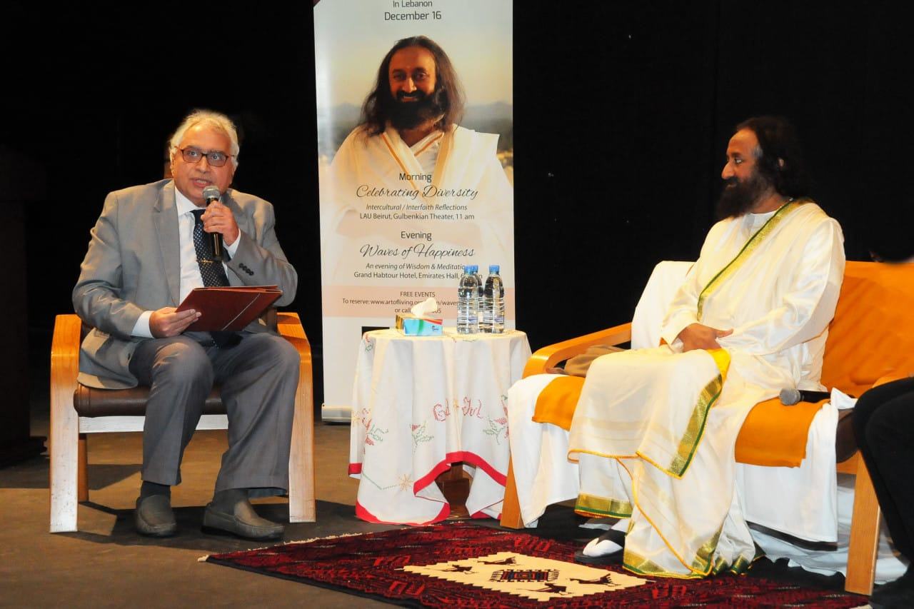 Gurudev in conversation with Prof. Louis Saliba, author and Indianist