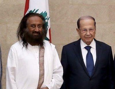 Gurudev meets Lebanon President Michel Aoun
