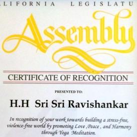 Honor from the California Legislature Assembly