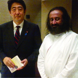 """Japanese Prime Minister lauds Sri Sri's """"Wave of Happiness"""" Campaign"""