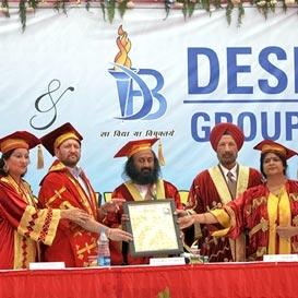Receiving Honorary Doctorate from Desh Bhagat University, Punjab, India